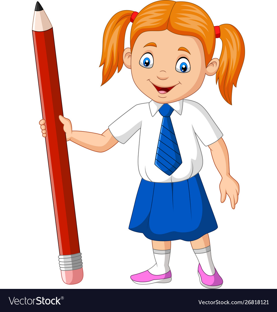 Cartoon school girl holding pencil.