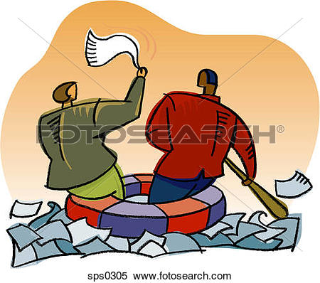 Stock Illustration of Business people stranded in a sea of paper.