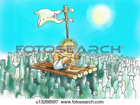 Stock Illustration of Starving man on a raft in a sea of bottles.