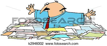 Clip Art of Awash In A Sea Of Papers k2946002.