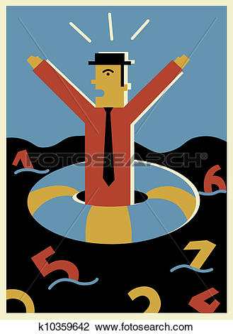 Clip Art of A businessman shouting for help while drifting in a.
