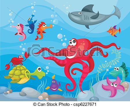 Vector Clip Art of sea life.