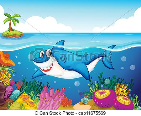 Clip Art Vector of shark fish in sea.