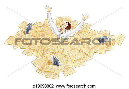 Clip Art of Man swimming in sea of paperwork as three shark fins.