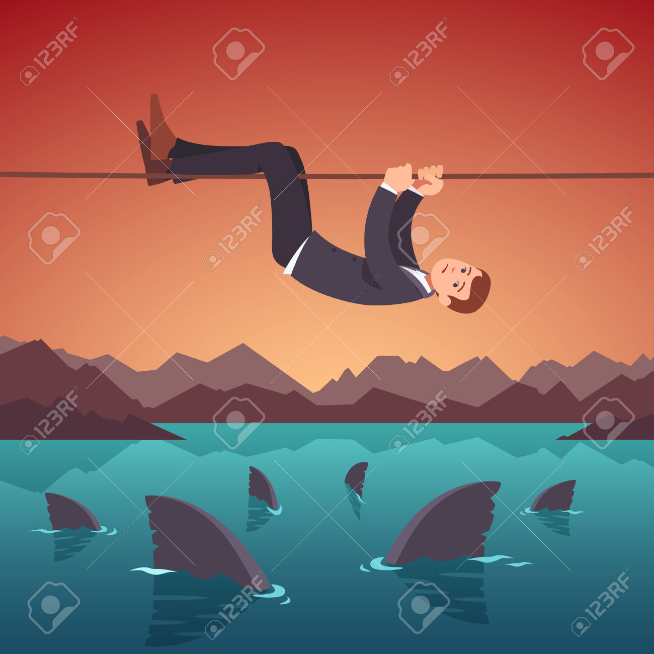Businessman Crawling Over A Sea Of Sharks Holding To A Tight.