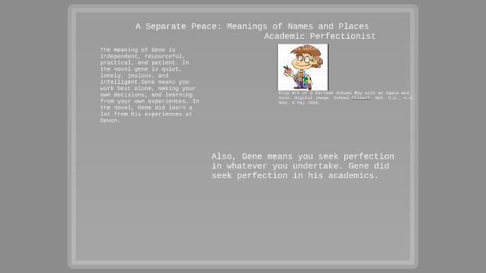 A Separate Peace:Meanings of Characters and Places by Tali.