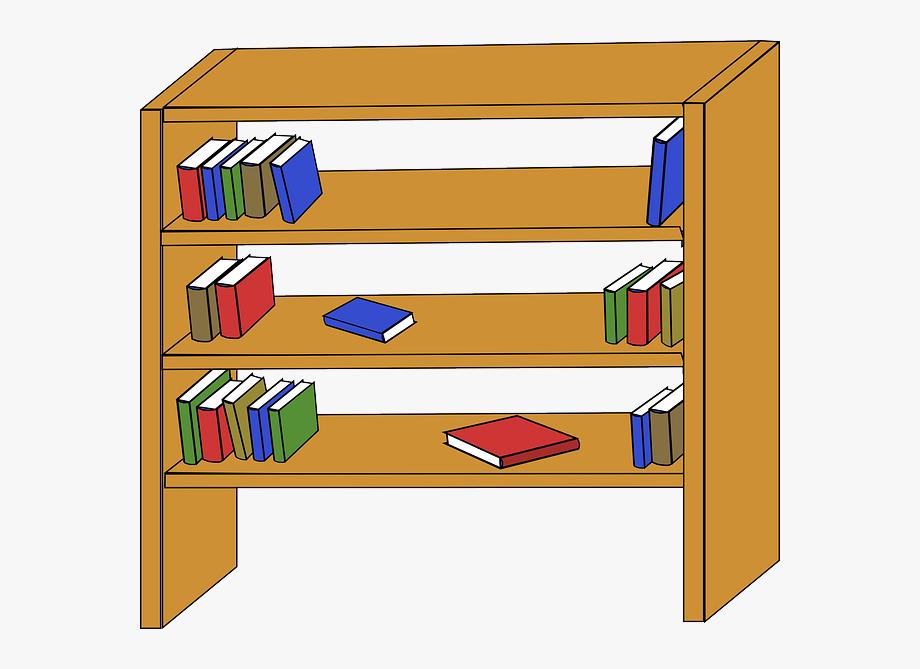 Cluttered Clipart Bookshelf.