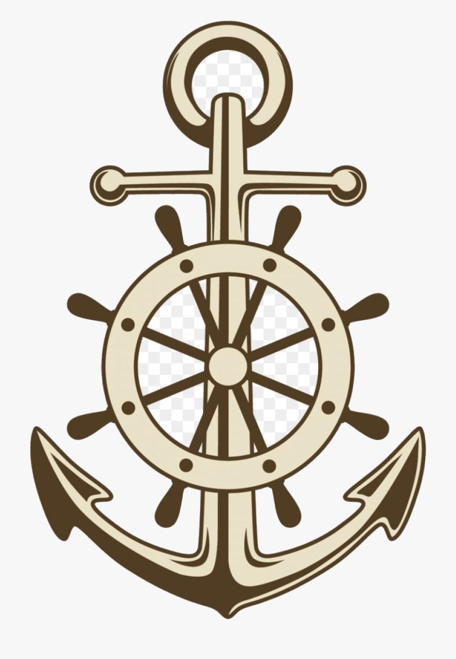 Ship Wheel Anchor Ships Paper Clip Art Vector Painted.