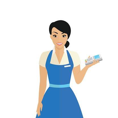 Friendly female shop assistant holding payment terminal in.
