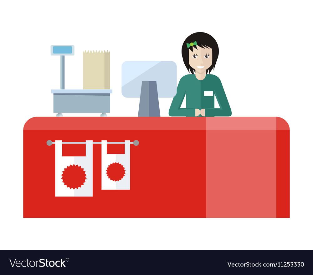 Shop Assistant Sitting at the Cash Desk.