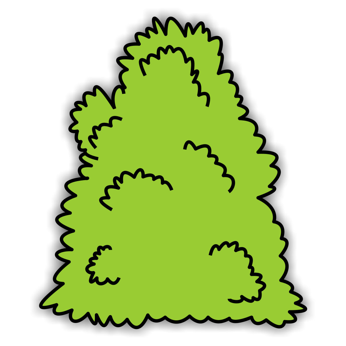 Clip art trees and shrubs.