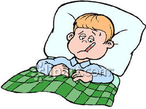 Clipart Of Sick Child In Bed.