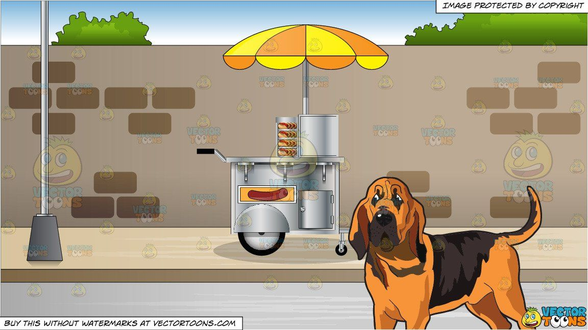 clipart #cartoon An Attentive Bloodhound and Hot Dog Cart On.