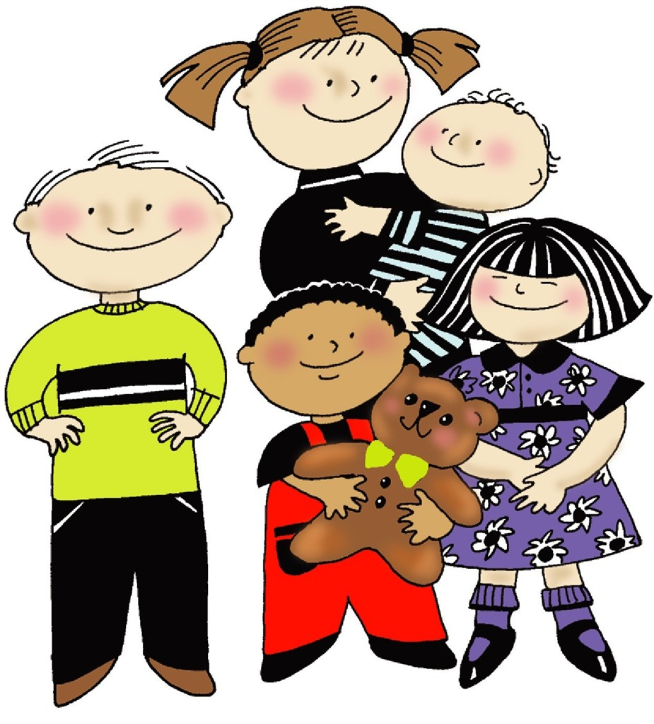 Single parent with four kids clipart.