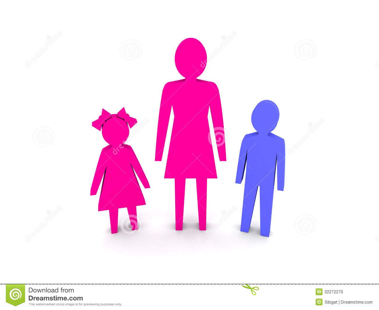 Single parent family clipart.