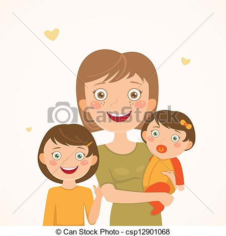 Single parent family clipart.