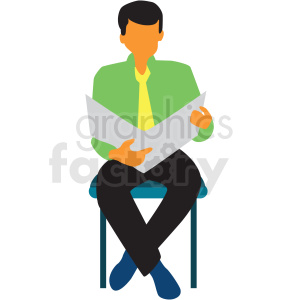 man sitting reading newspaper clipart. Royalty.