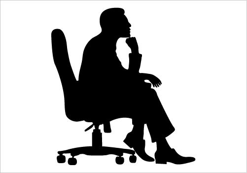 Man Sitting on a Chair Silhouette Graphics.