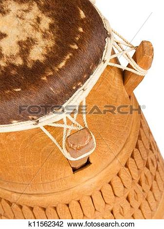 Stock Photo of Djembe, Surinam percussion, handmade wooden drum.
