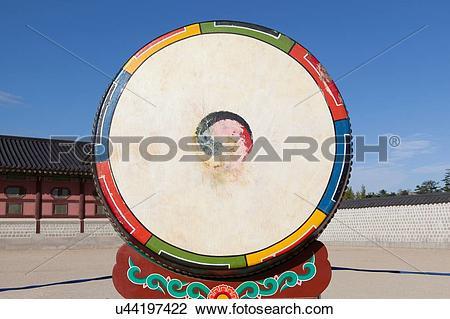 Stock Photo of Traditional animal skin buk drum, Korea, Seoul.