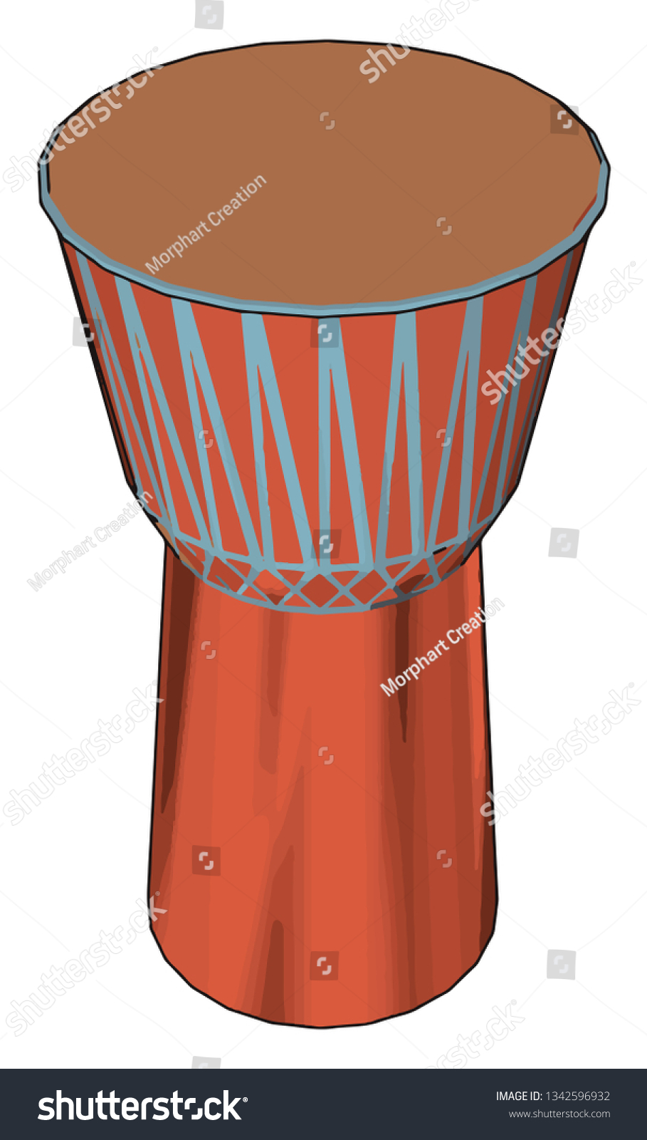 Djembe Jembe Rope Tuned Skincovered Goblet Stock Vector (Royalty.