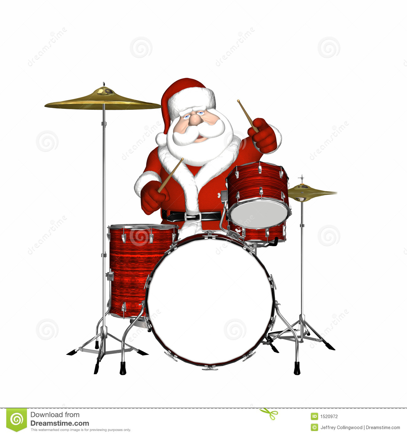Santa Playing Drums 2 stock illustration. Illustration of glove.