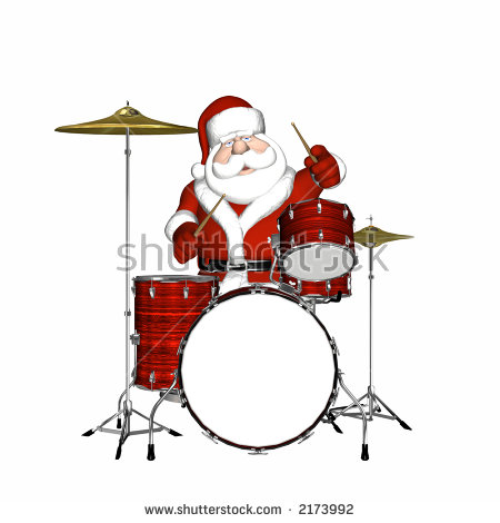 Santa Playing The Drums. Isolated On A White Background. Blank.