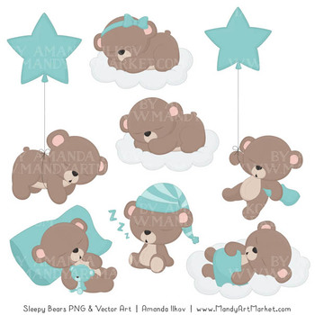 Beary Cute Sleepy Bears Clipart & Papers Set in Aqua.
