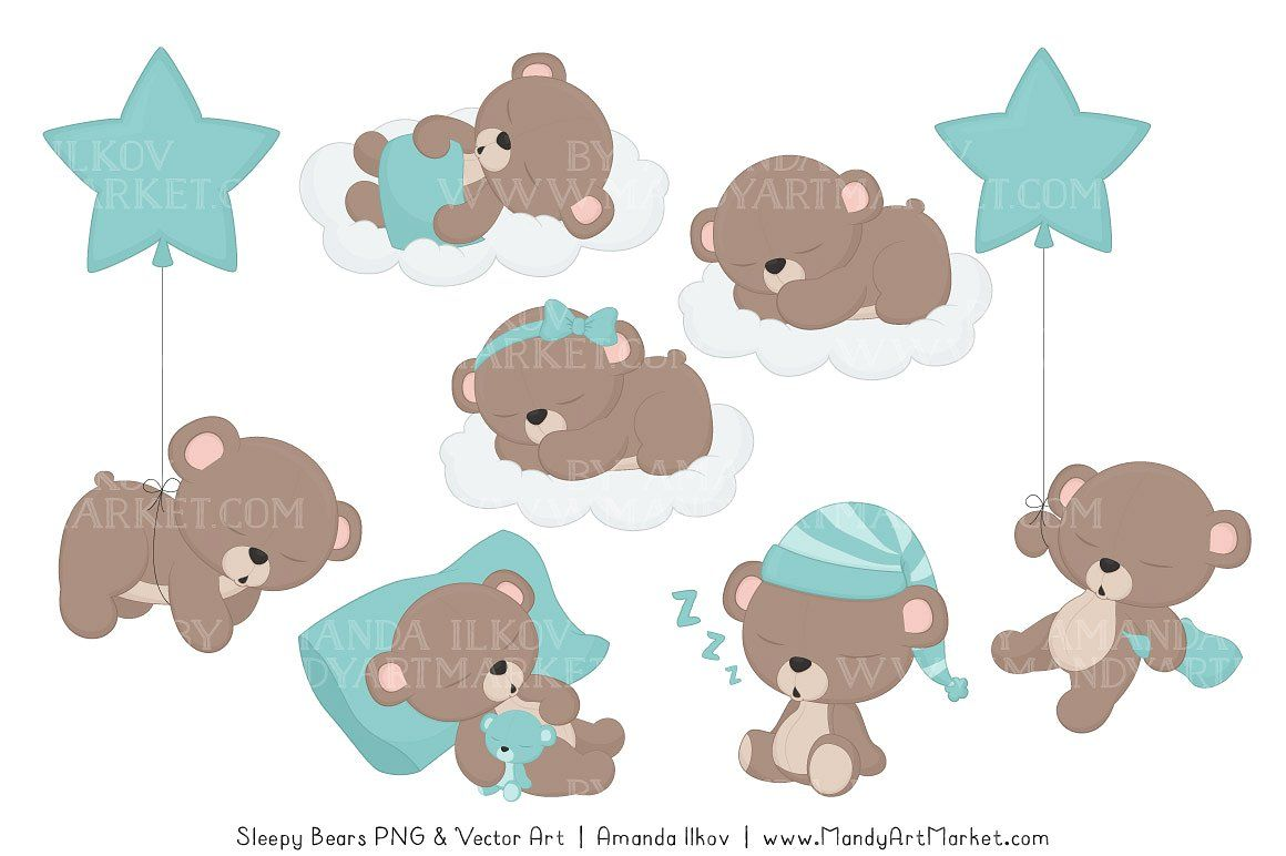 Aqua Sleepy Bears Clipart #theme#aqua#color#beary in 2019.