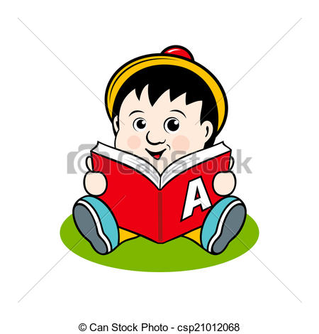 Clip Art Vector of Small child with a book.