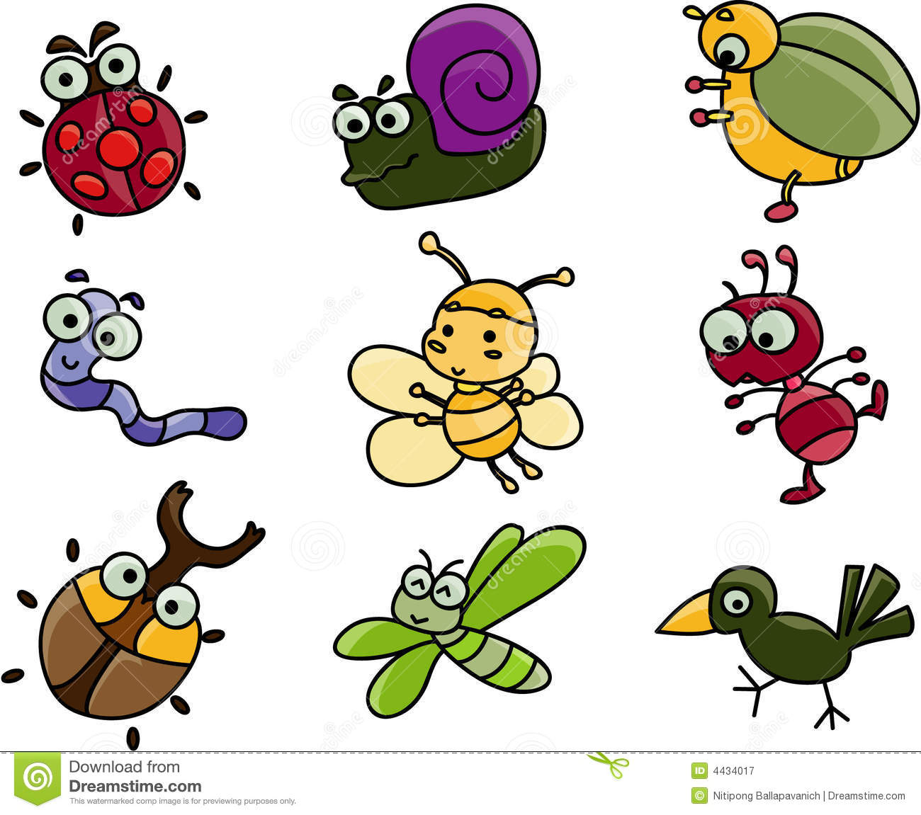 Cartoon insects clipart.