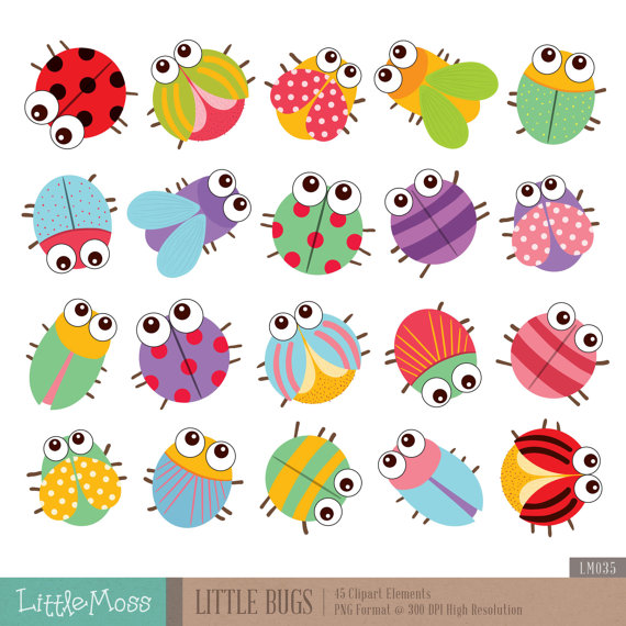 Little Bugs Clipart by LittleMoss on Etsy.