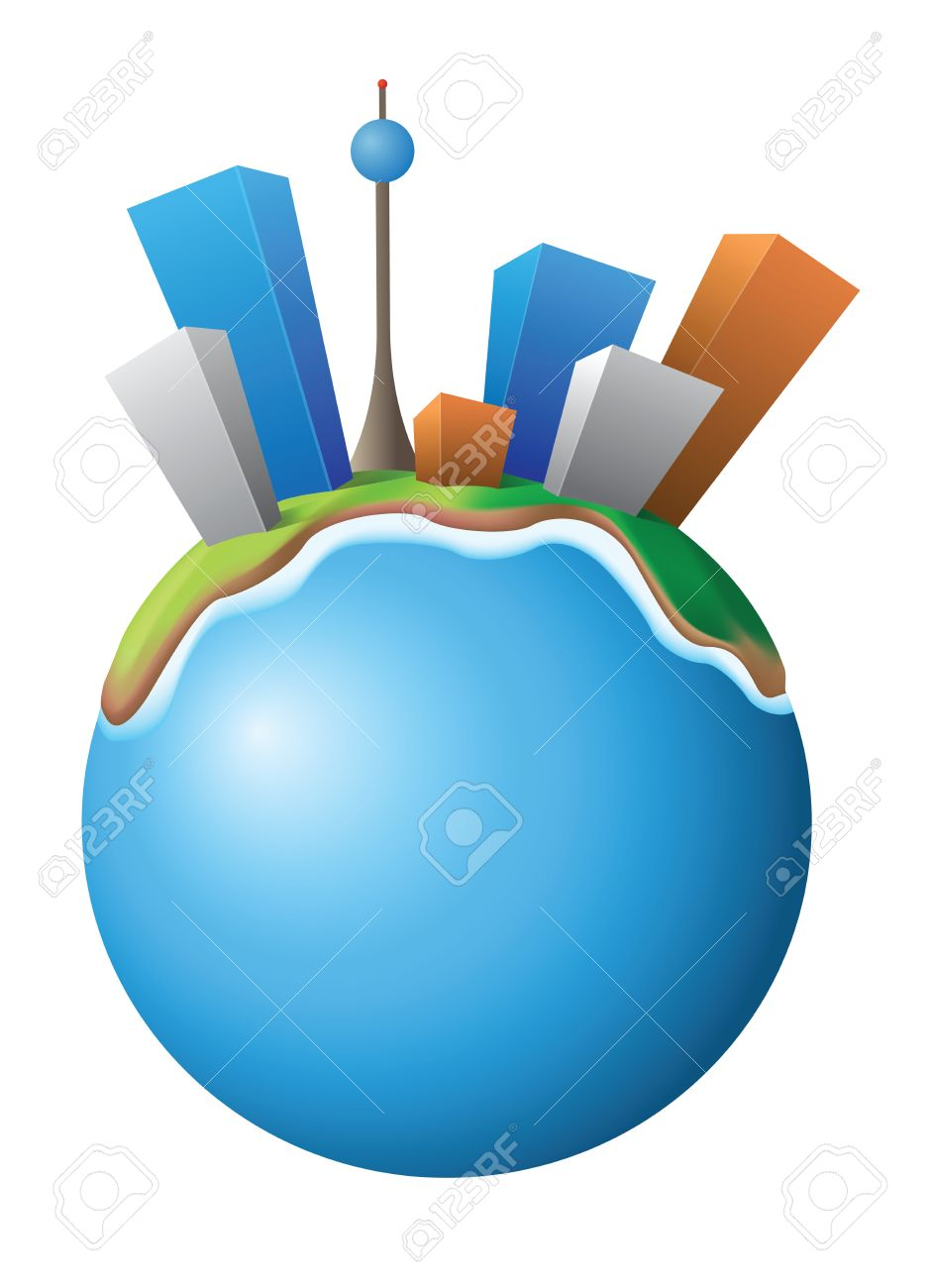 Vector Illustration Of The Small Planet With City Royalty Free.