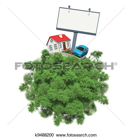 Stock Illustrations of Car and house on a small planet k9488200.