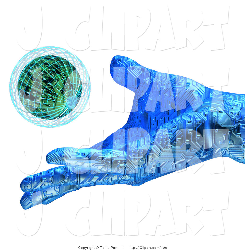 Clip Art of a Blue Technological Hand with Circuits, Releasing a.