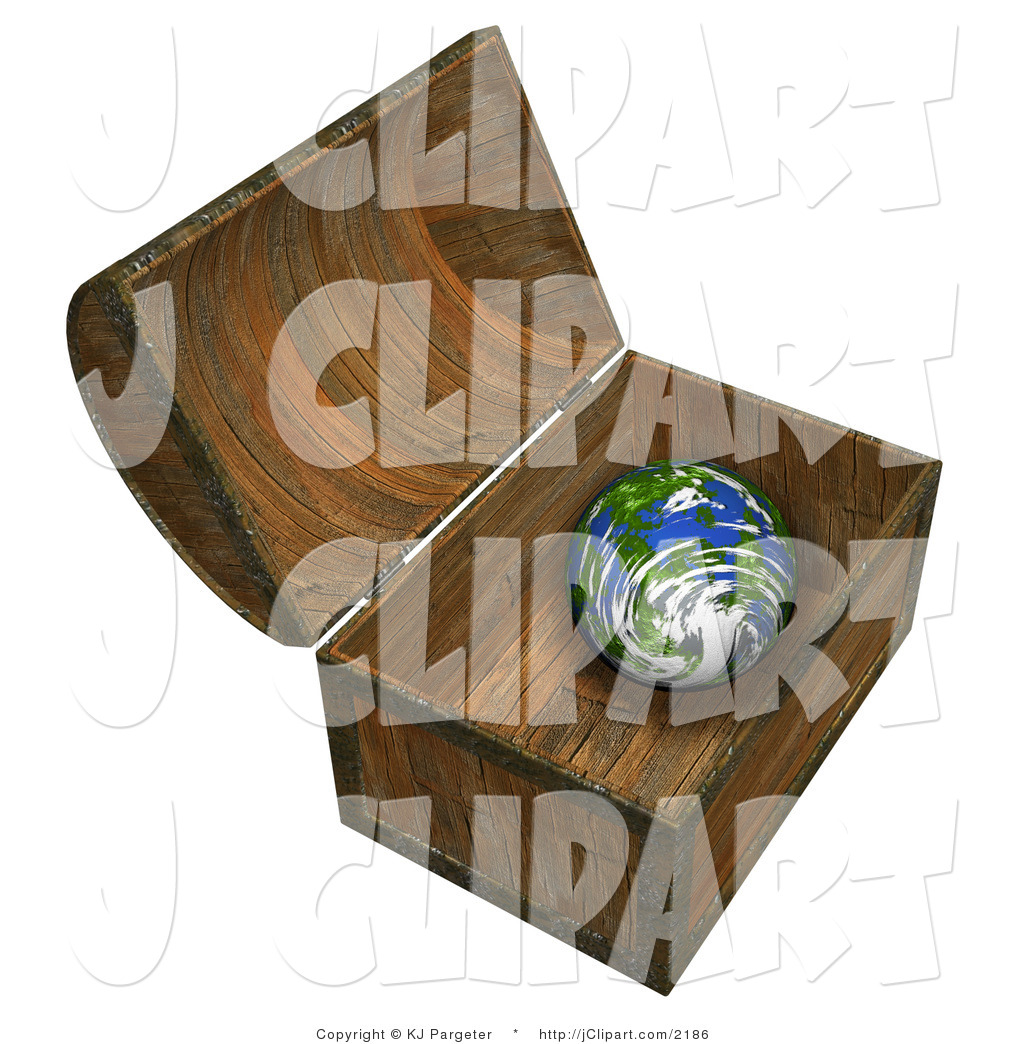 Clip Art of a Small Planet Earth Inside a Wooden Treasure Chest by.