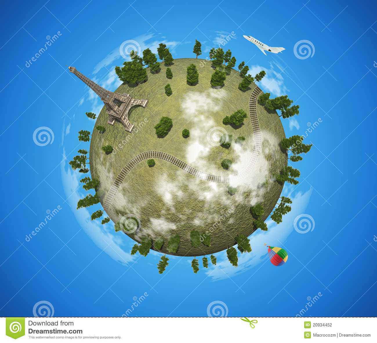 Small Planet With Eiffel Tower Stock Photography.