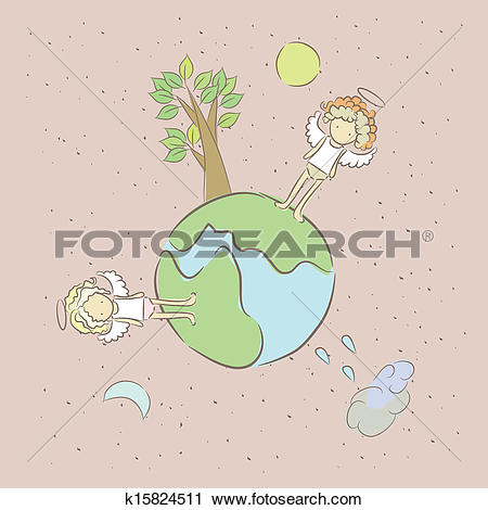 Clipart of Illustration of sad lonely angels on a small planet.