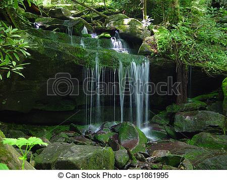 Stock Images of Small Waterfall.