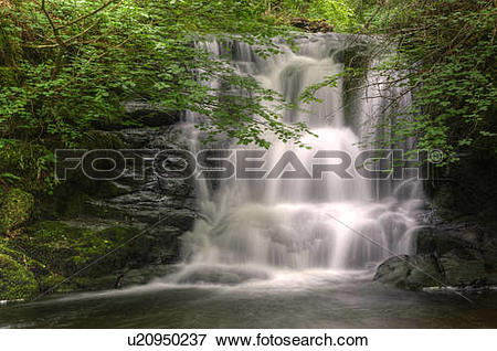 Picture of England, Devon, Watersmeet. A small waterfall at.