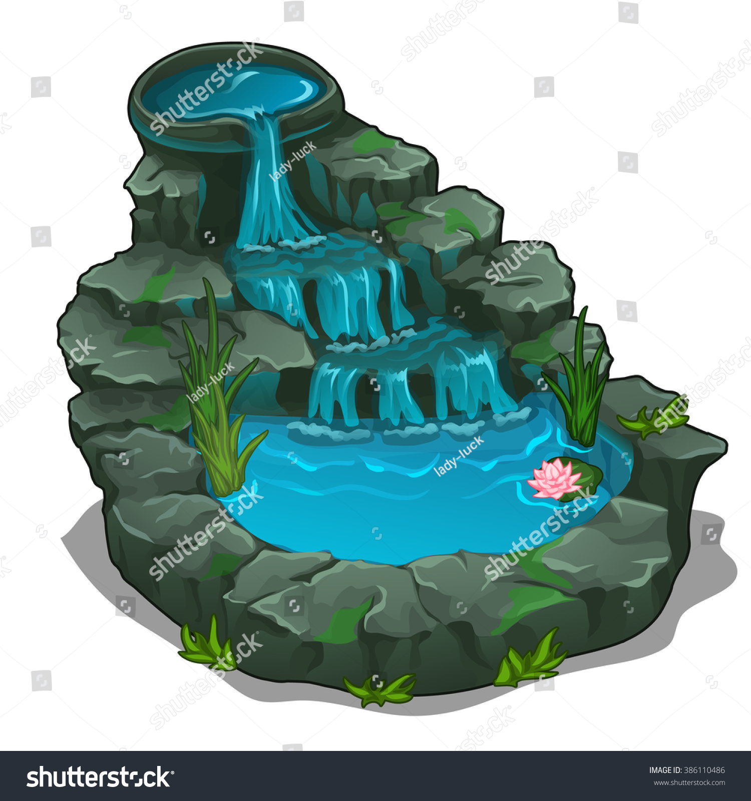 Small Pond Waterfall Water Lilies Landscape Stock Vector 386110486.