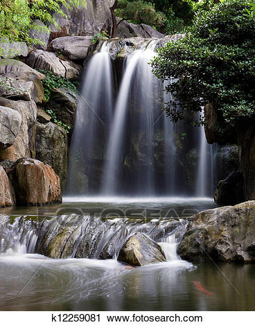 Stock Photography of a small waterfall in the chinese gardens.