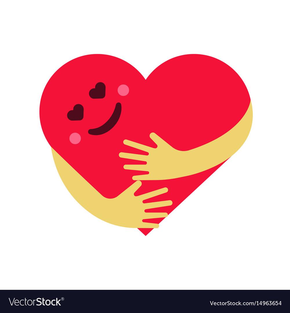 Red smiling heart hug on.