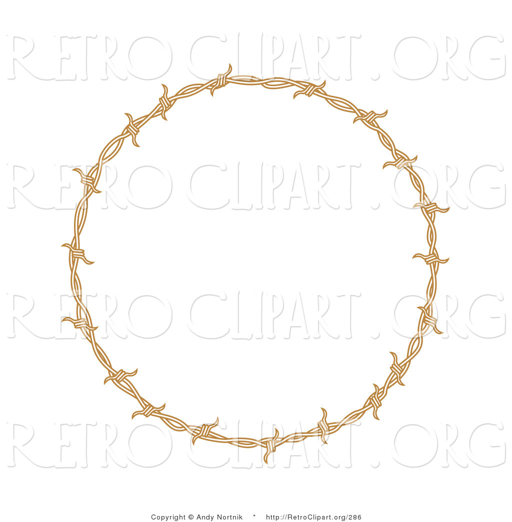 Retro Clipart of a Circular Border Frame of Barbed Wire over a.