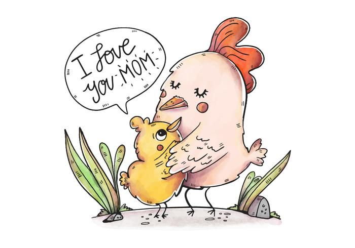 Cute Mom Chicken and Son With Cute Quote.