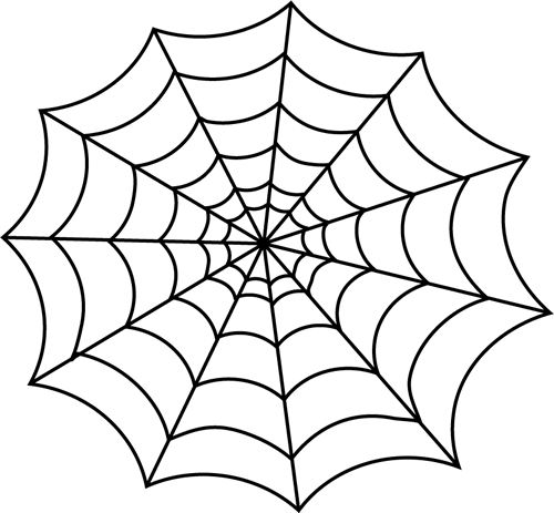 Black and White Spider Web Clip Art.