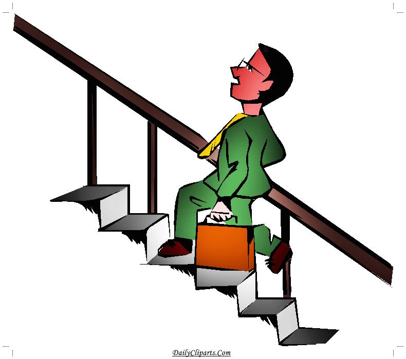 Staircase climbing Man Clipart Image.