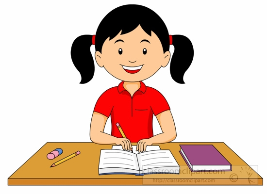 Studying Girl Student Clipart.