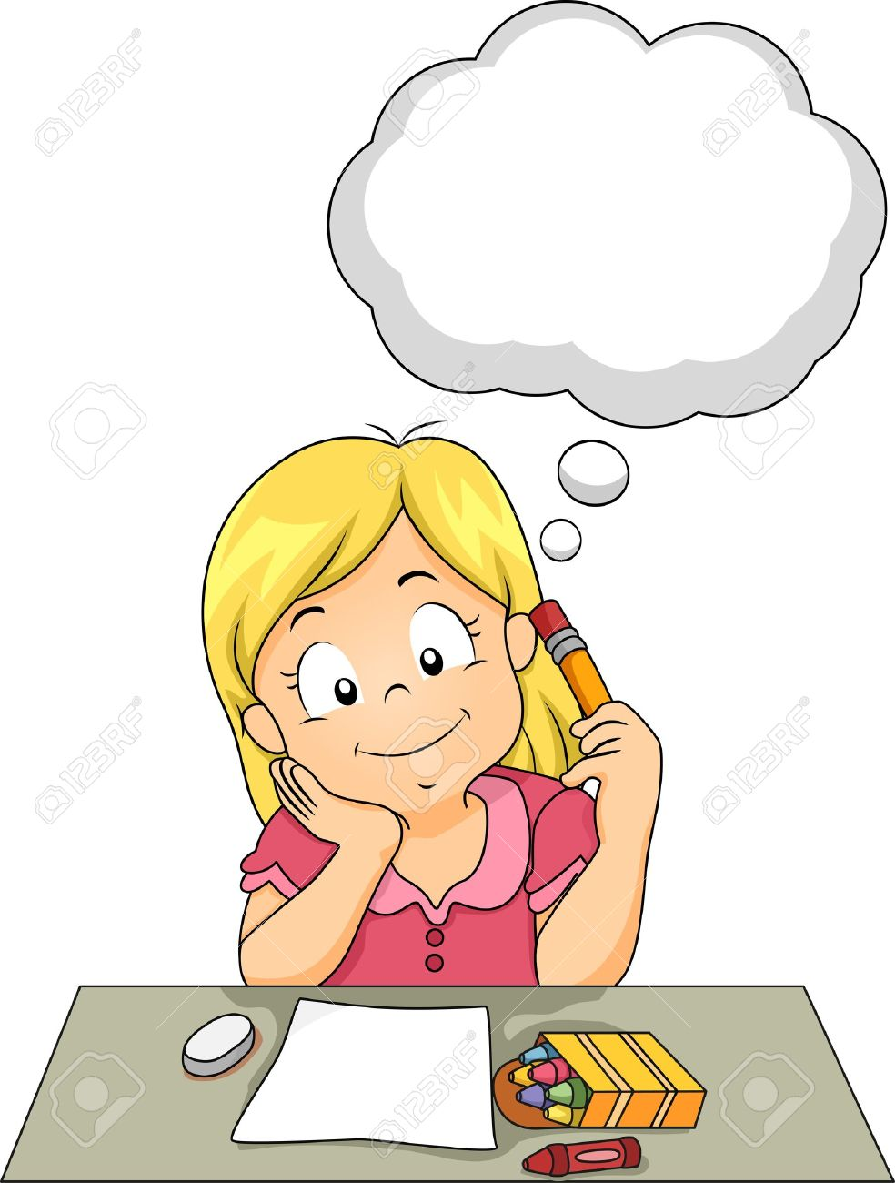 Girl Student Thinking Clipart.