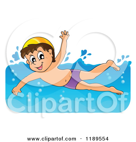 Curly hair boy pool swim clipart.